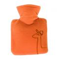 Kinder-W�rmflasche klein Bezug orange mit Giraffen-Muster