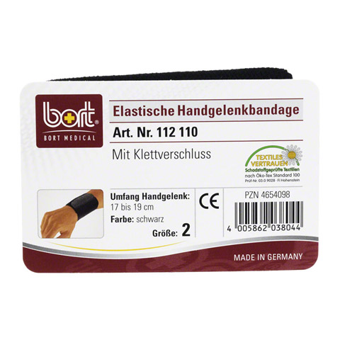 BORT Handgelenkbandage Gr.2 schwarz m.Klettvers. 1 Stück