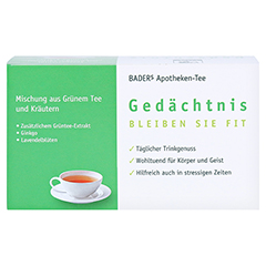 BADERS Apotheken Tee Gedächtnis Filterbeutel 20 Stück - Rückseite