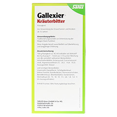 Gallexier Kräuterbitter Salus 500 Milliliter - Rückseite