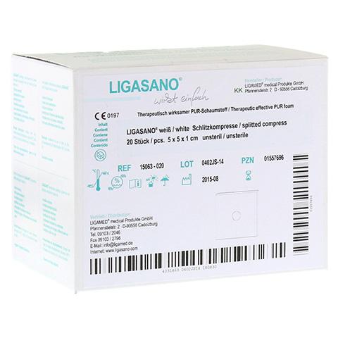 LIGASANO weiß Schlitzkompr.1x5x5 cm unsteril 20 Stück
