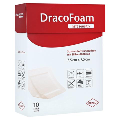DRACOFOAM Haft sensitiv Schaumst.Wund.7,5x7,5 cm 10 Stück