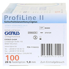 PROFILINE II Sicherheitslanzetten Cignus 100 Stück - Rechte Seite