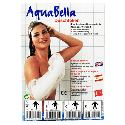 AQUABELLA Duschfolie A Hand/Fu�/Arm kurz 2 St�ck
