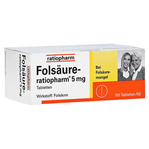 FOLSÄURE RATIOPHARM 5 mg Tabletten 100 Stück N3