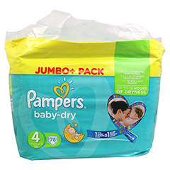 PAMPERS Baby Dry Gr.4 maxi 7-18kg Jumbo plus Pack 78 St�ck - Vorderseite