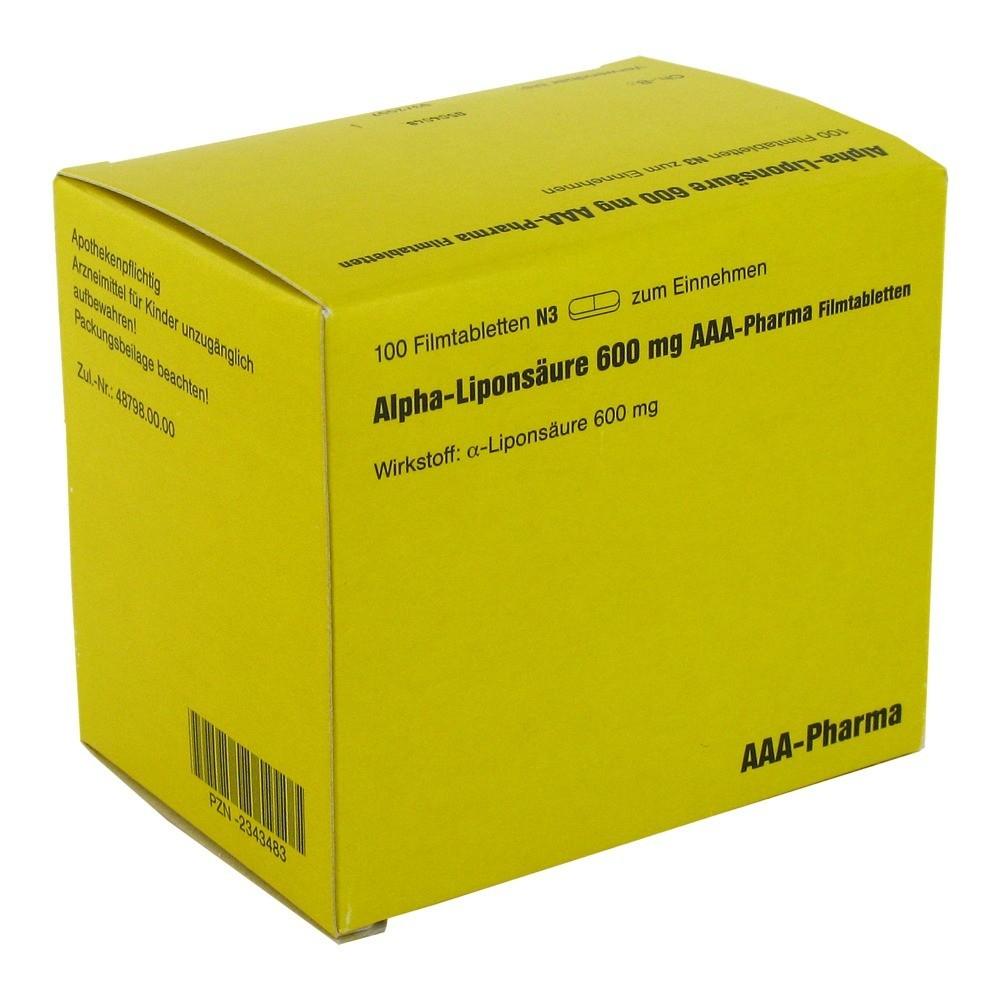 alpha lipons ure 600 mg aaa pharma filmtabletten 100 st ck n3 online bestellen medpex. Black Bedroom Furniture Sets. Home Design Ideas