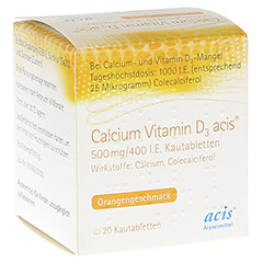 CALCIUM VITAMIN D3 acis 500 mg/400 I.E. Kautabl. 20 St�ck N1