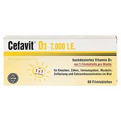 CEFAVIT D3 7.000 I.E. Filmtabletten 60 Stück - Vorderseite