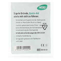 QUICK AID Einmal Notfall Beatmungshilfe Tücher 1 Stück - Rückseite