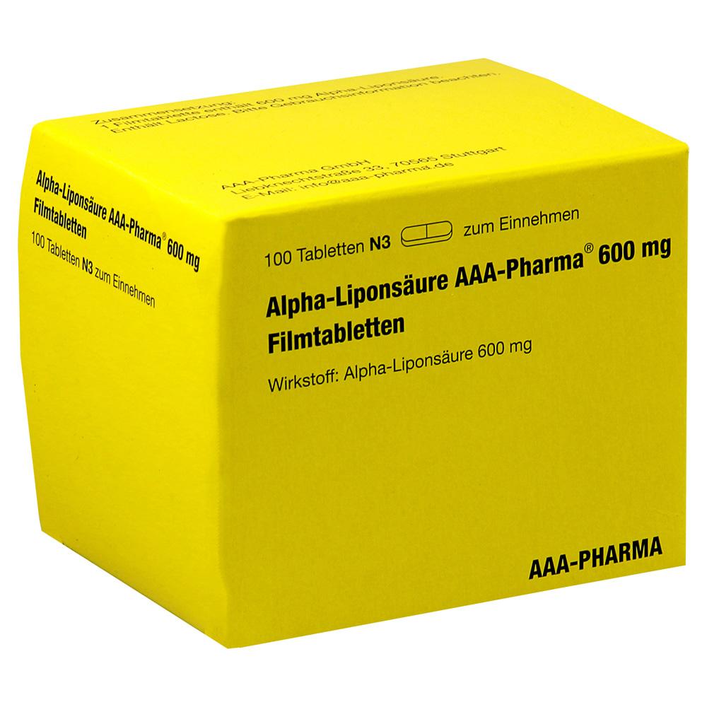 alpha lipons ure aaa pharma 600 mg filmtabletten 100 st ck n3 online bestellen medpex. Black Bedroom Furniture Sets. Home Design Ideas