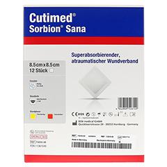 SORBION Cutimed Sana Wundauflage 8,5x8,5 cm 12 Stück - Rückseite