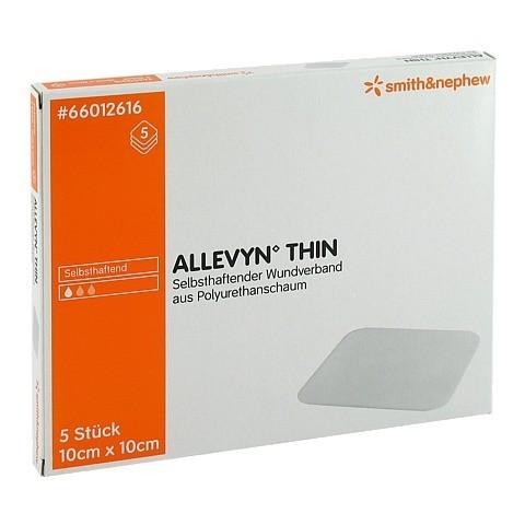 ALLEVYN Thin 10x10 cm dünne Wundauflage 5 Stück