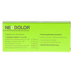 NEODOLOR Tabletten 20 Stück - Rückseite