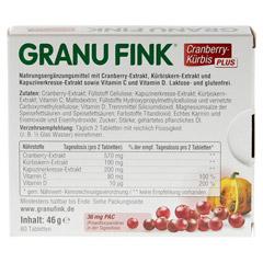 GRANU FINK Cranberry-Kürbis PLUS Tabletten 60 Stück - Rückseite