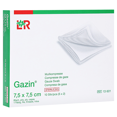 GAZIN Mullkomp.7,5x7,5 cm steril 8fach 5x2 Stück