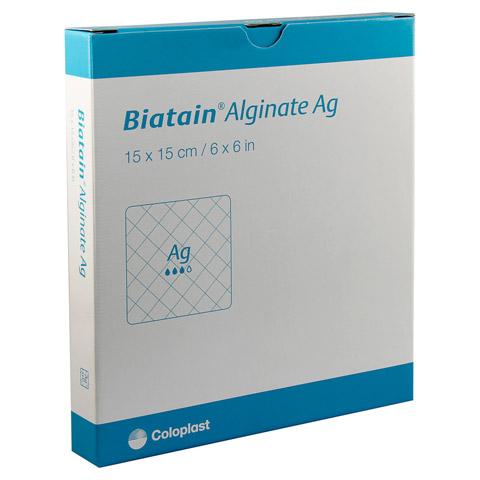 BIATAIN Alginate Ag Kompressen 15x15 cm mit Silber 10 Stück
