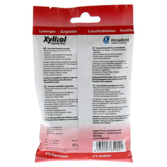 MIRADENT Xylitol Drops zuckerfrei Cherry 60 Gramm - Rückseite
