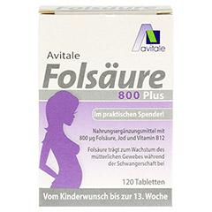 FOLSÄURE 800 Plus B12+Jod Tabletten 120 Stück - Vorderseite
