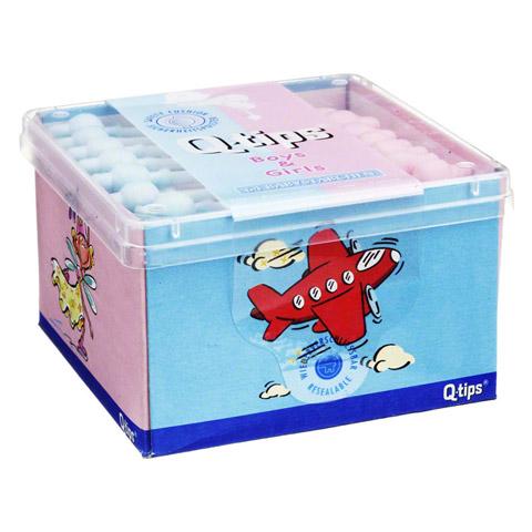 Q TIPS Baby Pflegestäbchen boys & girls Würfelbox 64 Stück